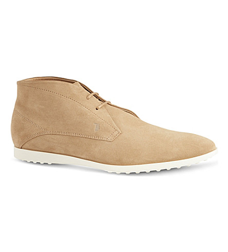 TODS Suede Lace-up Ankle Boots (Camel