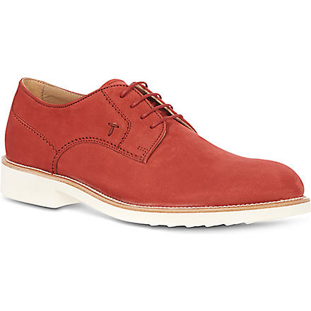TODS Nubuck Lace-up Shoes (Red