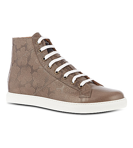 MARC JACOBS Floral embossed high-tops (Grey
