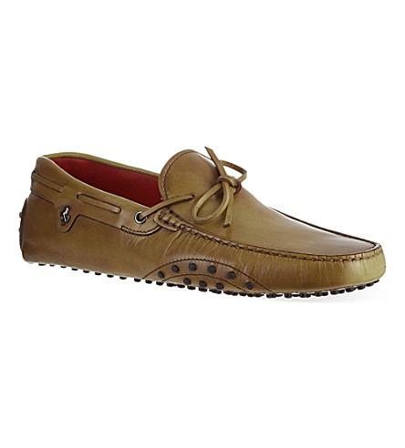 TODS Ferrari tie driver shoes (Tan