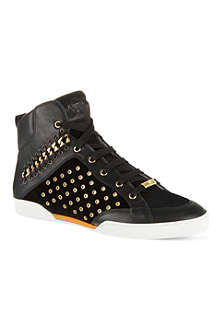 VERSACE Chain trim high-top trainers