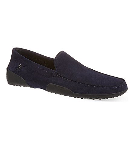 TODS Rubber trim sole driver shoes (Navy