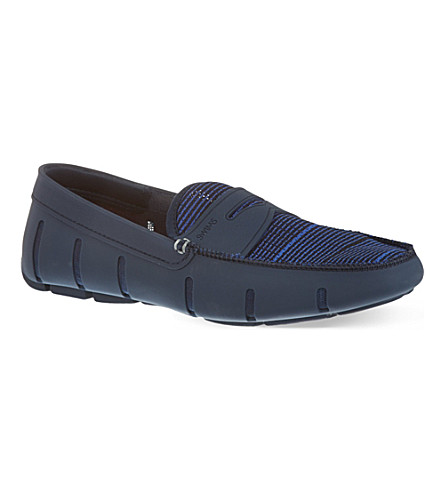 SWIMS Striped penny loafers (Navy