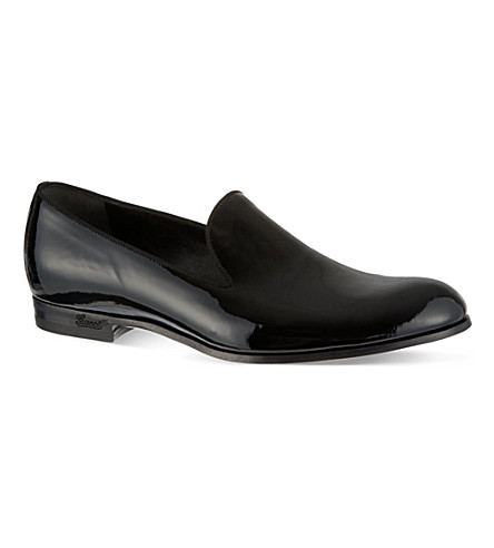 GUCCI Warren patent evening slippers (Black