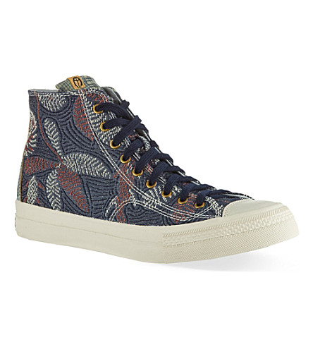 VISVIM Floral Skagway high-top trainers (Navy