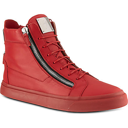 GIUSEPPE ZANOTTI Mono high-top trainers (Red