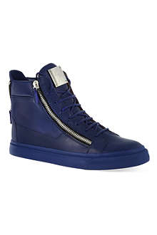 GIUSEPPE ZANOTTI Blue leather high-tops