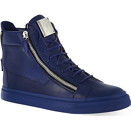 GIUSEPPE ZANOTTI Blue leather high-tops (Blue