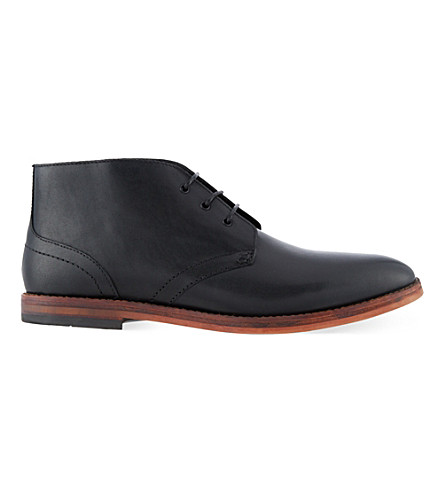 H BY HUDSON Houghton leather chukka boots (Black
