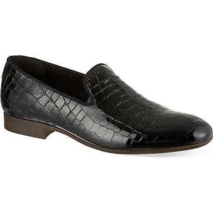 H BY HUDSON Rowan crocodile print slippers (Black