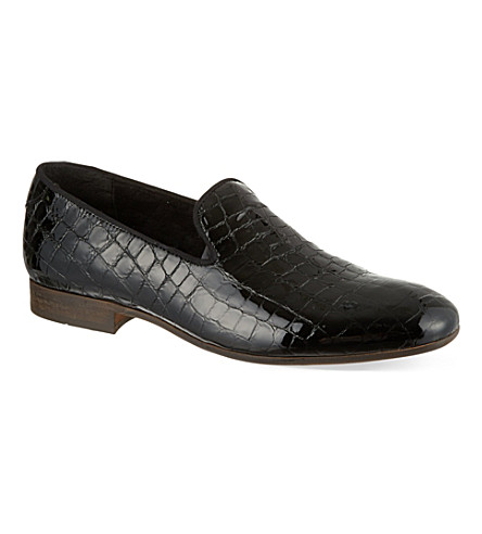 H BY HUDSON Rowan crocodile print slippers (Black