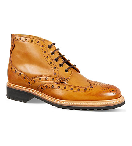 OLIVER SWEENEY Lawshaw brougue boots (Tan