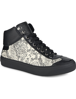 JIMMY CHOO Argyle python print high-top trainers