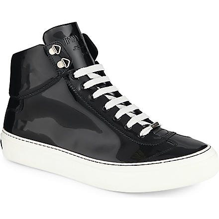 JIMMY CHOO Argyle patent high-top trainers (Blk/white