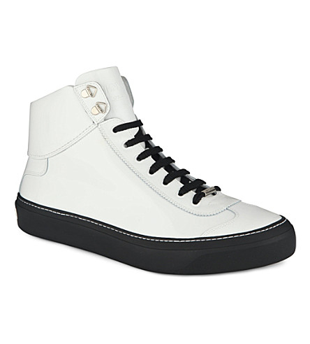 JIMMY CHOO 24/7 Argyle patent high-top trainers (White