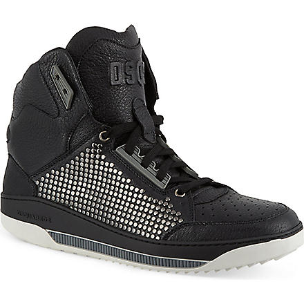 D SQUARED Leather hi-top trainers (Black