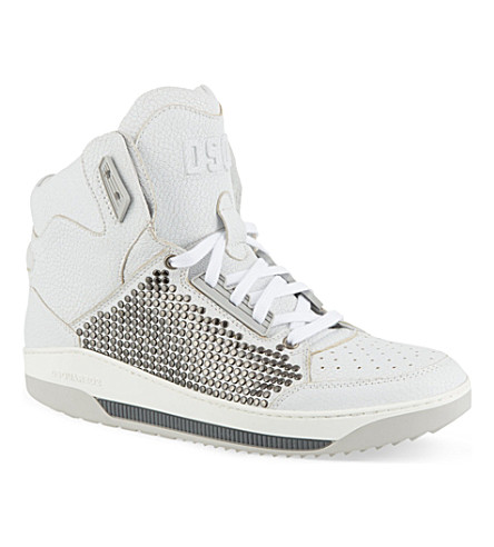 D SQUARED Studded hi-top trainers (White