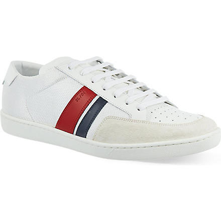 SAINT LAURENT Striped low top trainers (White/comb