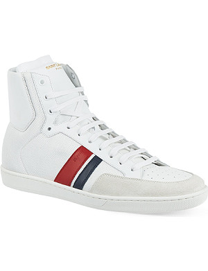 SAINT LAURENT Stripe hi-top trainers