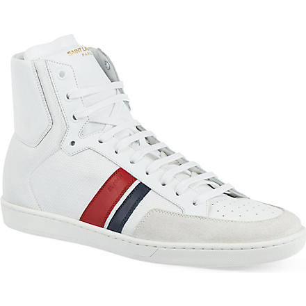 SAINT LAURENT Stripe hi-top trainers (White/comb'