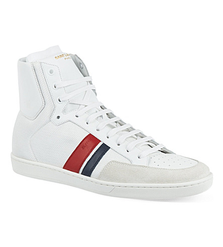 SAINT LAURENT Stripe hi-top trainers (White/comb