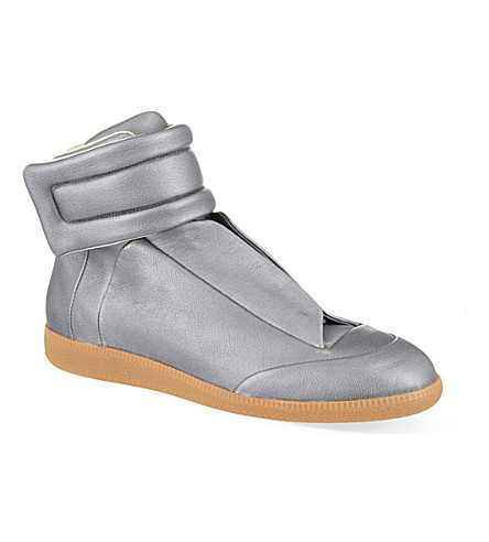 MAISON MARTIN MARGIELA Future metallic hi-top sneakers (Silver