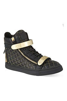 GIUSEPPE ZANOTTI Quilted double-bangle high tops