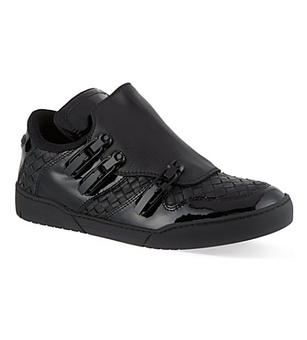 BOTTEGA VENETA Whistler Intrecciato leather low-top trainers (Black