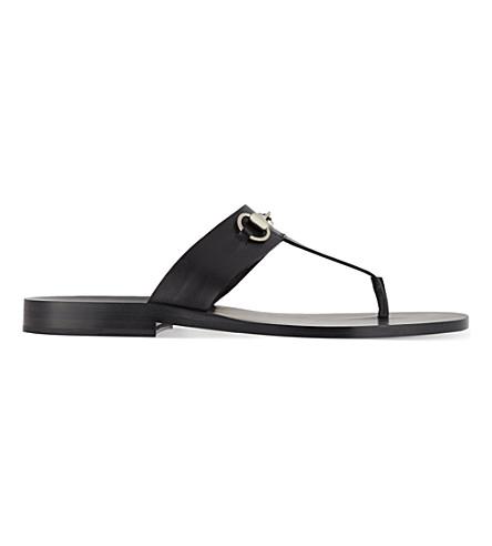 GUCCI Ben horsebit thonged sandal (Black