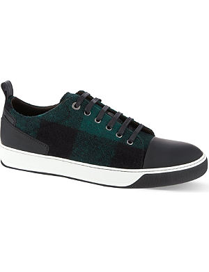 LANVIN Check wool toe-cap trainers