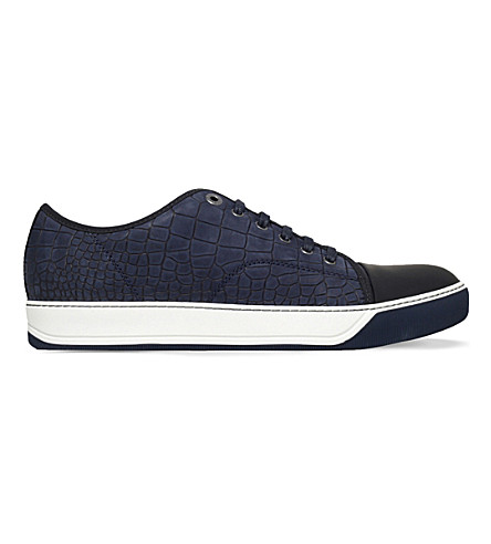 LANVIN Crocodile-embossed leather trainers (Navy