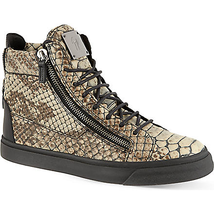 GIUSEPPE ZANOTTI Snake-embossed high tops (Green