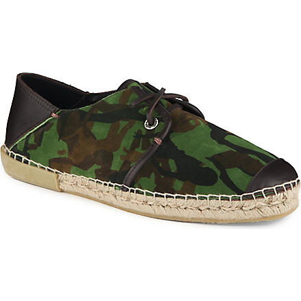 JIMMY CHOO Percy camouflage-detailed espadrilles (Green