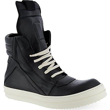 RICK OWENS Self ex geobasket zip-up hi-top sneakers (Black