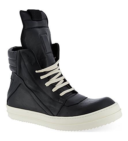 RICK OWENS Geobasket zip-up hi-top sneakers (Black