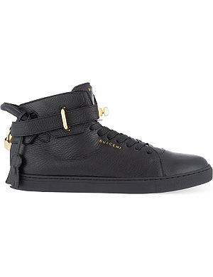BUSCEMI Gold clasp mid-top trainers