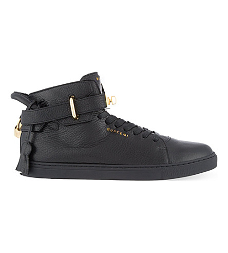 BUSCEMI Leather mid-top trainers (Black