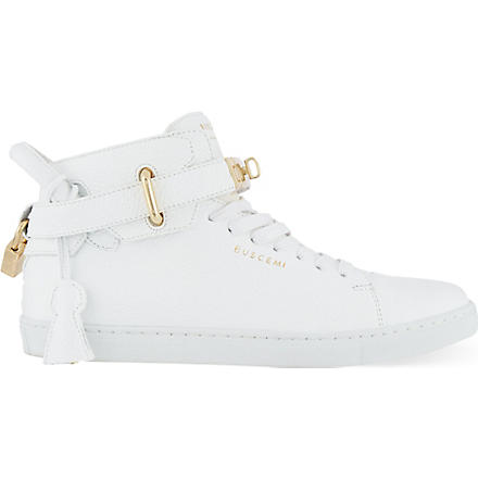 BUSCEMI Gold clasp mid-top sneakers (White