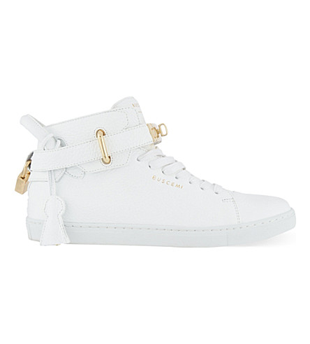 BUSCEMI 100mm padlock leather mid-top trainers (White