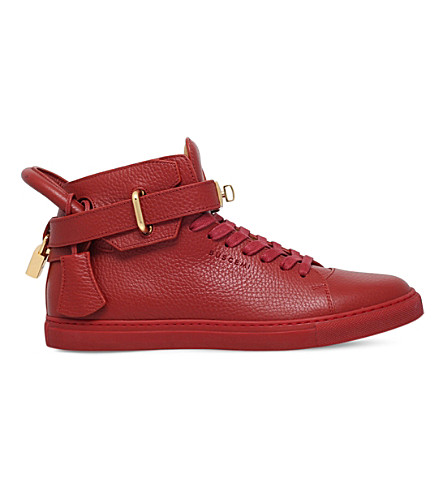 BUSCEMI 100mm grain-leather trainers (Red