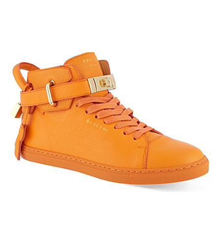 BUSCEMI Gold clasp mid-top sneakers (Orange