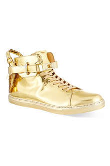 BUSCEMI 100mm gold clasp metallic mid-top sneakers