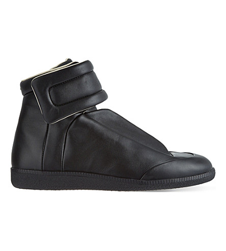 MAISON MARGIELA Future leather high-top trainers (Black
