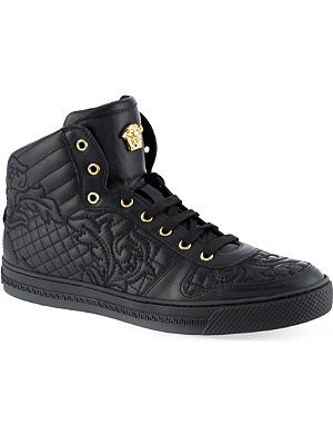VERSACE Quilted hi-top trainers