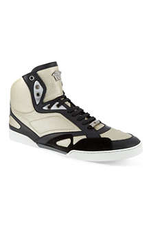 VERSACE Metallic leather hi-top trainers