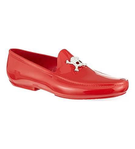 VIVIENNE WESTWOOD Skull-embellished PVC loafers (Red