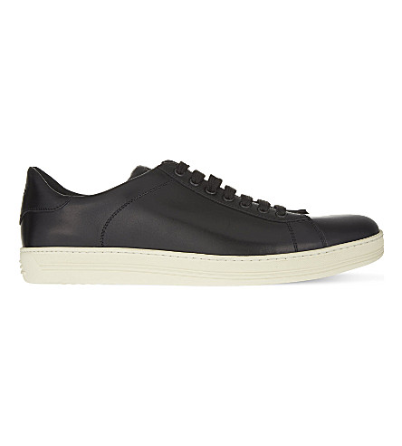 TOM FORD Russell leather lace-up trainers (Black