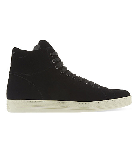 TOM FORD Russel velvet high-top trainers (Black