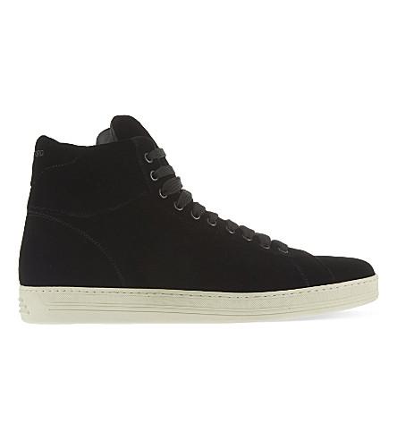 TOM FORD Russel velvet high-top sneakers (Black