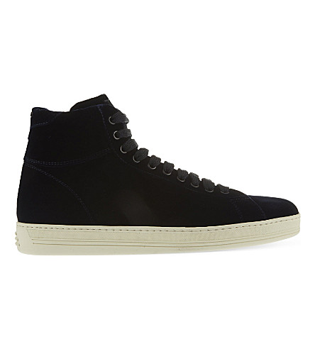 TOM FORD Russel velvet high-top trainers (Navy